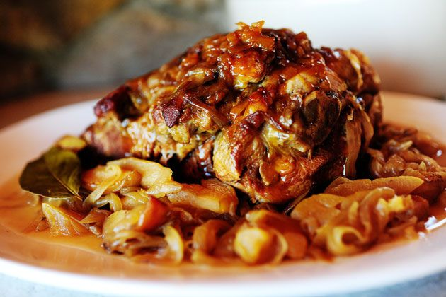this soon. pork braised in apple juice with onions and diced apples ...