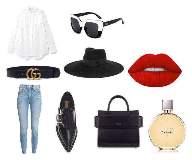 """50 shades of black"" by goitsemooketsi on Polyvore featuring Gucci, Maison Michel, Quay, Lime Crime, Givenchy and Chanel"