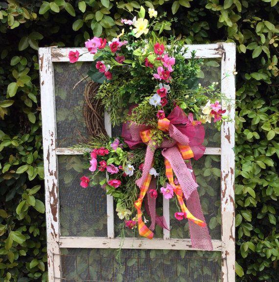 Pink Wild flower Wreath, Double Door Wreath,Mothers Day Wreath,Easter  Wreath,Spring Wreath,Front Door Wreath,Whimsica, Everyday Wreath