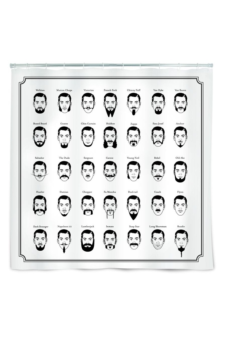 Mustache shower curtain - Mustache Shower Curtain