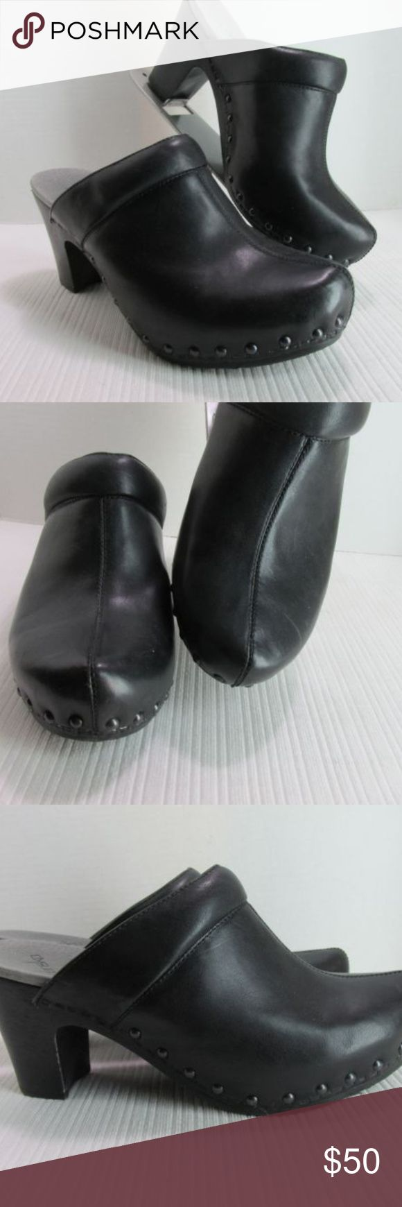 """Kork's Kork Ease Black Studded Clogs Shoes US 8 Kork's by Kork Ease. Black leather uppers with strap/buckle trim, studded around sole. Platform with heel clogs.  Size/Measurements:  Marked/tagged size  US 8 EU 39      Length (insole tip of toe to back edge of heel cup) 10""""     Width (outersole at widest/ball) 3.5""""     Platform 1""""     Heel height 3.5""""  Condition:  Excellent previously owned. Kork's Shoes Mules & Clogs"""