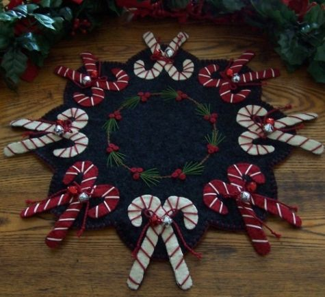"""Jingle Bell Candy Canes"" Wool Candle Mat-christmas, candy canes, bells, candle mat, penny rug, wool, wool felt, holiday"