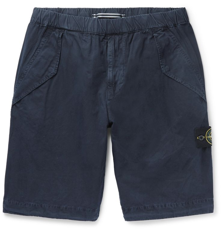 This pair of <a href='http://www.mrporter.com/mens/Designers/Stone_Island'>Stone Island</a>  shorts is garment-dyed to achieve a richer depth of colour and softer feel. They're fitted with a comfortable drawstring waistband and four fastening pockets to stow your valuables in. The detachable patch buttoned on the side is detailed with the brand's iconic compass emblem.