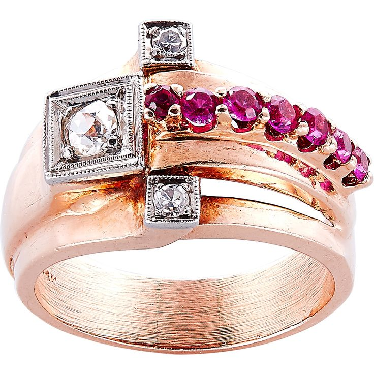 14K Pink Gold 1/4ct TDW Rubies and Diamonds Estate Deco Ring (H-I, SI1-SI2) (Estate Jewelry), Size 7.5