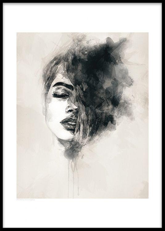 Print med motiv av en kvinna. Poster med akvarellmålning. Modernt print i svart, vit och beige. Moderna och snygga affischer och tavlor som passar till många olika inredningsstilar.
