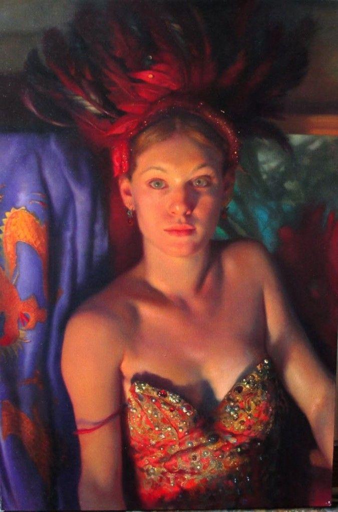 contemporary figurative beautiful blonde female décolletage cleavage torso woman portrait painting