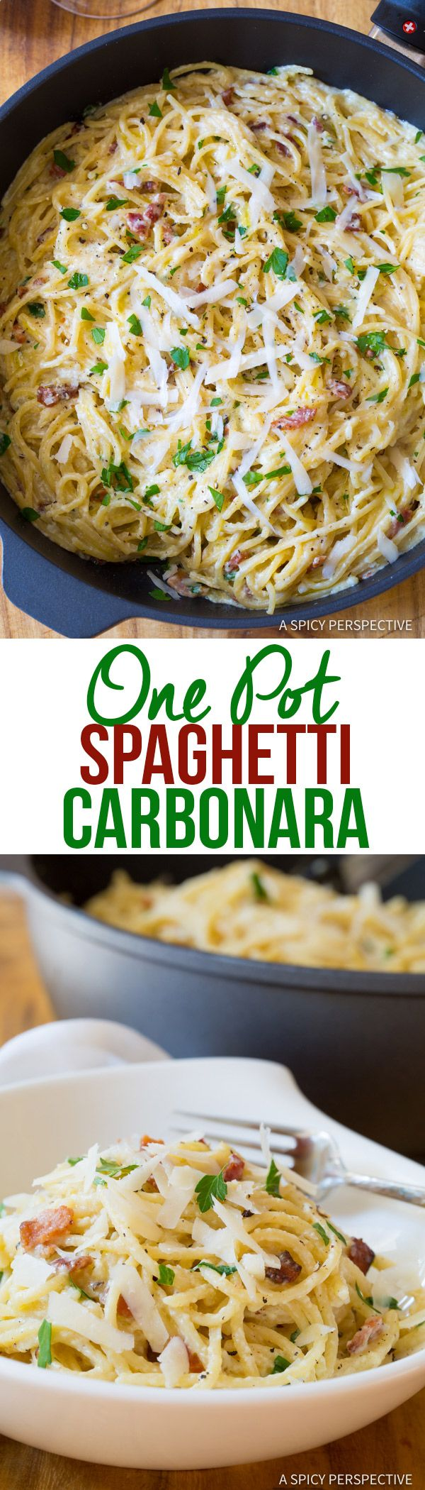 The Ultimate One Pot Spaghetti Carbonara | ASpicyPerspective.com. Use Dreamfields pasta.