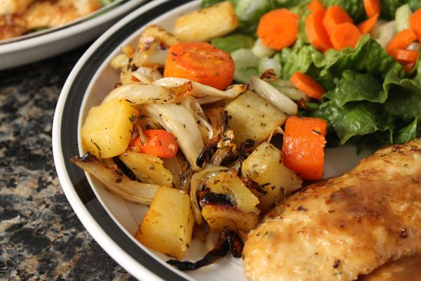 Wilde in the Kitchen: Chicken Francais & Honey-Roasted Root Vegetables