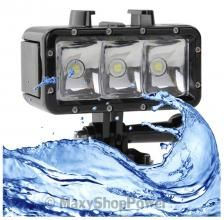 TORCIA 3 LED LUCE FLASH PILA IMPERMEABILE INTERMITTENTE HIGH LOW INTENSITY 30M PER GOPRO HD HERO 2 3 4 SILVER BLACK EDITION CAM SESSION NERA - SU WWW.MAXYSHOPPOWER.COM
