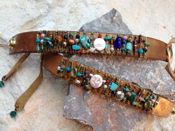 Wire Wrapped Leather Bracelet with Gemstones, Pearls and Beads on Etsy, $30.00