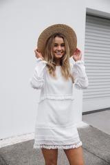 daniah tassel shift dress-white - Esther Boutique
