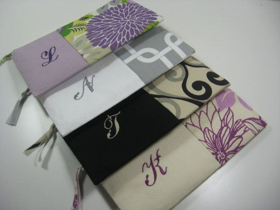 Set of 4 Embroidered Clutches Personalized  by ThePattypanShop,
