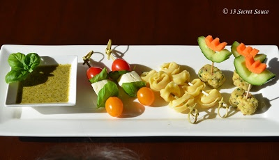 Kids Platter (Insalata, Tortellini & Cheese Pistachio Fingers with Pesto Dip)