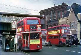 Buses in Romford - railway bridge in background