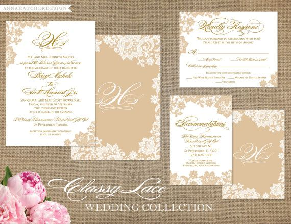 Gorgeous, classic wedding suite featuring elegant lace, mix or formal and script calligraphy fonts and monogram. Shown in gold and champagne; but can be customized to any color on any of our gorgeous papers! We recommend the metallic pearl, cream or champagne paper. Matching items include, but not limited to: invitation, reply card and enclosure card (accommodation/reception)