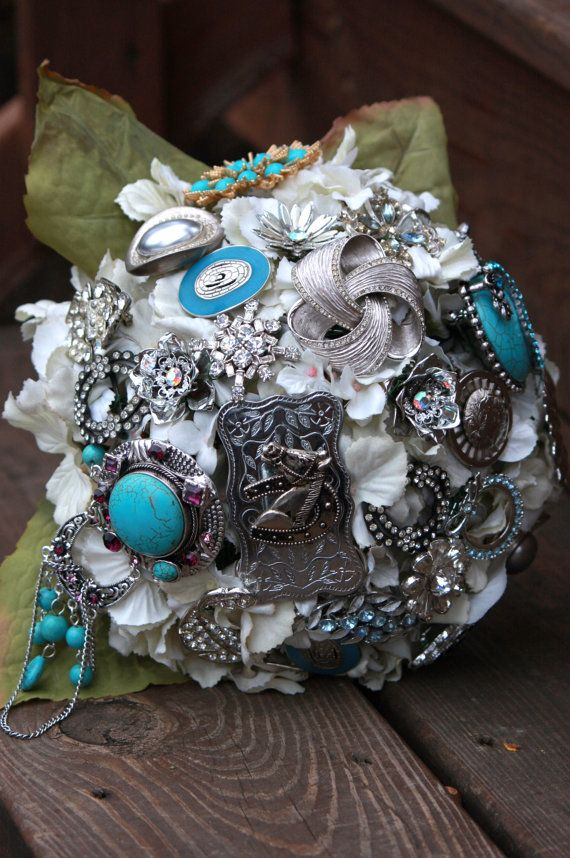This is my step mom's store on Etsy, she makes beautiful brooch bouquets. REPIN AND LIKE!! Spreak the word....Western Cowgirl Wedding Bridal Bouquet by Rusticcreek on Etsy, $75.00 love this idea!