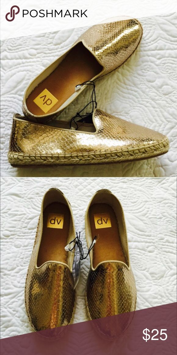 DV Gold espadrilles Brand new with tag and box. Tag says 8.5, but they run small. DV Shoes Espadrilles