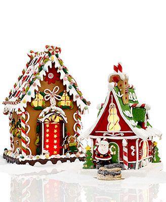 Kurt Adler Christmas Decorations, Pre-Lit Gingerbread House Collection