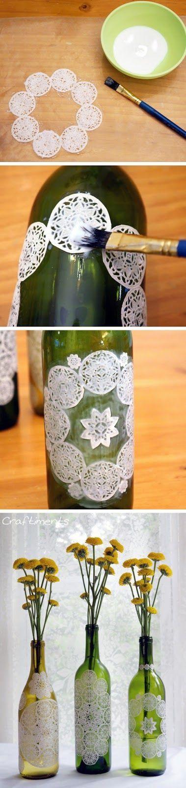 Paper Doily Decoupaged Bottles