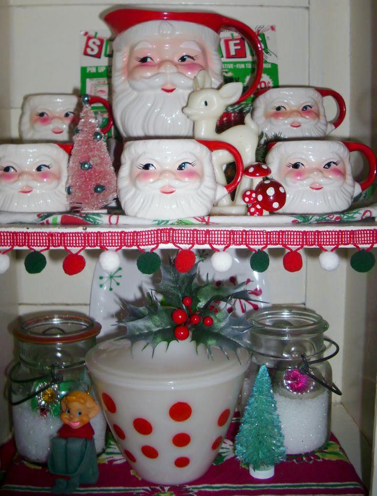 Vintage Santa mugs Fireking dots Pixies shiny
