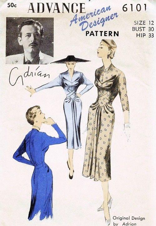 1950s Rare ADRIAN Dress Pattern Advance American Designer 6101 Stunning Dinner Cocktail Dress Bust 30 Vintage Sewing Pattern