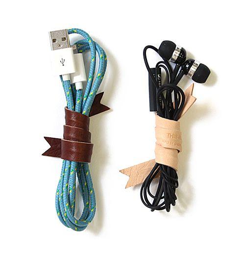 革製のコード巻き。 Leather Cord Ribbon