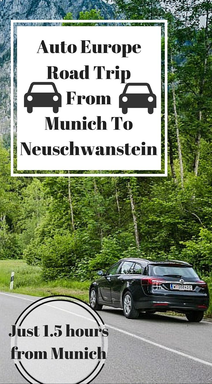 Auto Europe Road Trip From Munich To Neuschwanstein Castle Just 1.5 Hours From Munich Germany. Renting a car with Auto Europe allowed us to discover a pace of Germany most tourist just see from a window of their tour bus. Click to read the full travel blog post by the Divergent Travelers Adventure Travel Blog ( Ultimate Germany Road Trip Guide) http://www.divergenttravelers.com/ultimate-germany-road-trip-guide/