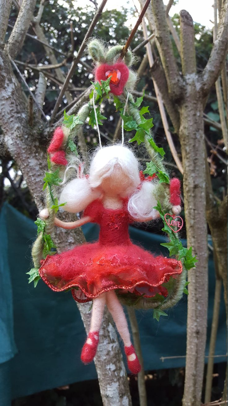 RED VALENTINE Little Girl on a swing needle felted wool