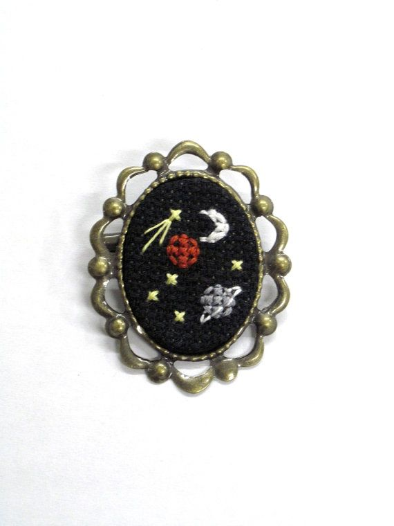 Outer Space Pin by maudstitch on Etsy, $15.00 could be cool to do on circle pin