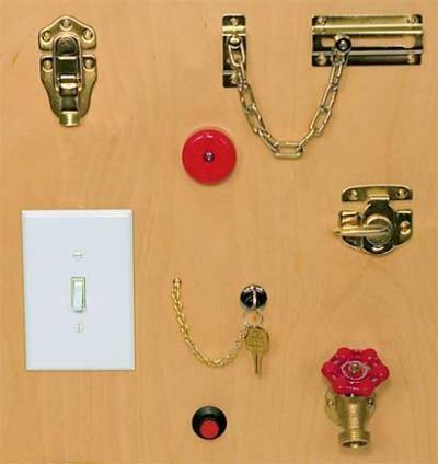 Locks & Latches Fine Motor Activity Board