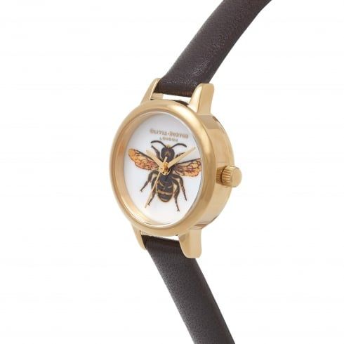 Woodland Mini Bee Dark Chocolate & Gold | Olivia Burton London