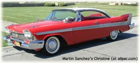 "It's been 20yrs since we got our 1st look at the forgotten 1950s Mopar,1958 Plymouth Fury,in Christine.In 1982, Stephen King sent Salem Lots movie producer Richard Kobritz a copy of his novel Christine. Kobritz loved it & wanted to make a movie.He had only 1 man in mind for the job,John Carpenter,known for his hit Halloween.Chaney Ponton's car,above,won 2nd place in the ""Christine ('58 Plymouth)"" class at 09 Chryslers at Carlisle show. The rest is history!"