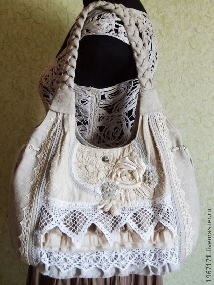 """"""" Бохо - шик """" - бежевый,льняная сумка,бохо стиль,классный подарок,ручное кружево"""