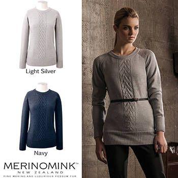 New Zealand Merinomink Womens Merino Wool Single Cable Sweater