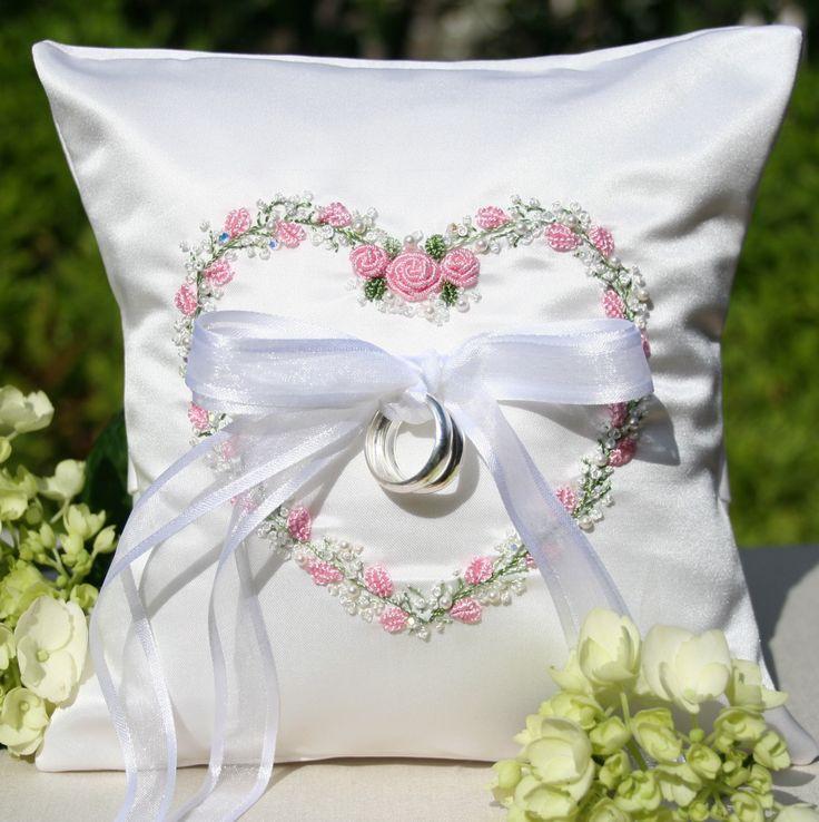 garden floral heart wedding ring pillow pink - Wedding Ring Pillow