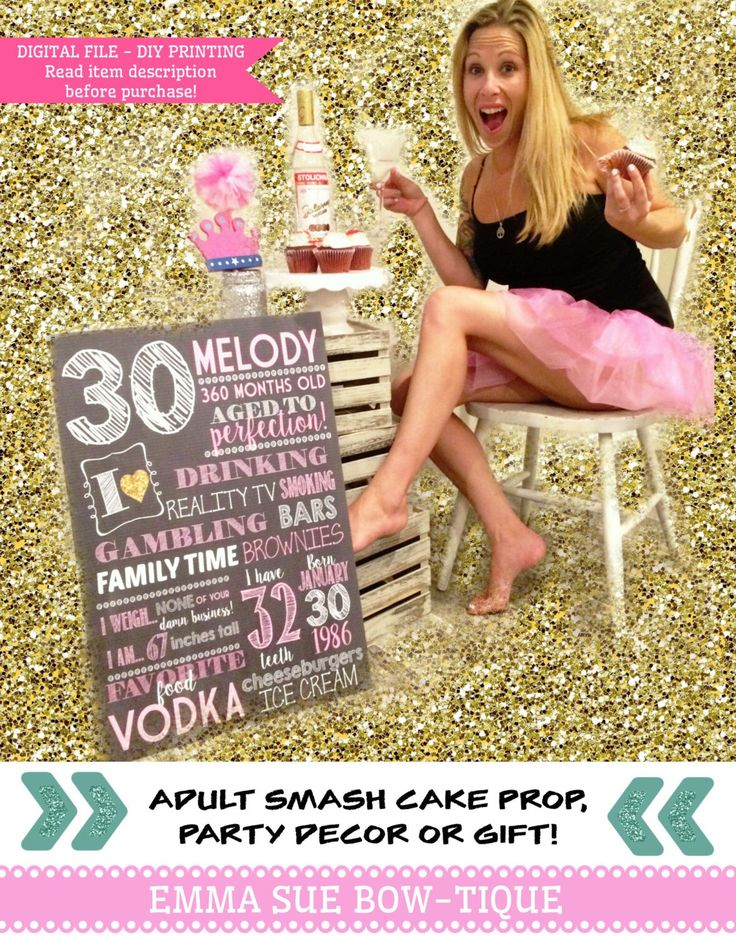 Adult smash cake chalkboard sign. 30th, 40th, any Birthday!  A personal favorite from my Etsy shop https://www.etsy.com/listing/294640617/any-age-adult-smash-cake-prop-30th-40th