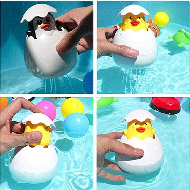 Baby Bathing Toy Kids Cute Duck Penguin Egg Water Spray Sprinkler ...
