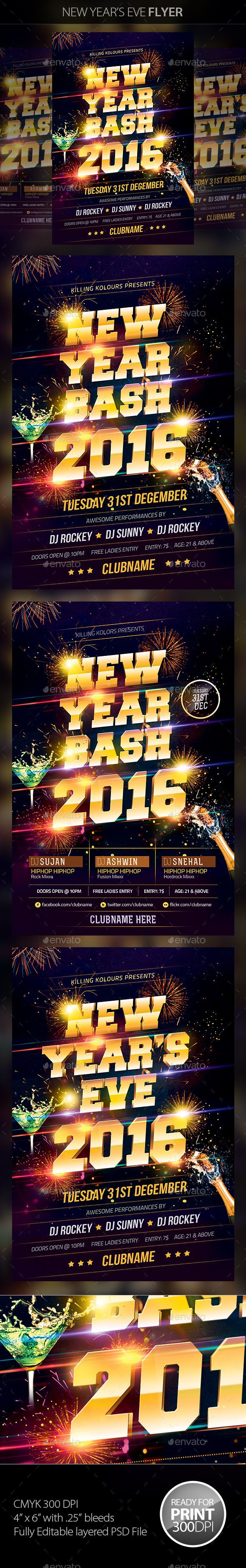 New Year Party Flyer Template PSD #design #nye Download: http://graphicriver.net/item/new-year-party-flyer/6143639?ref=ksioks