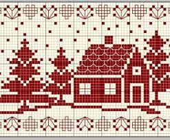 Risultati immagini per ricamo natalizio punto croce su tela rossa