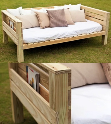 Daybeds and woods on pinterest for Diy patio bed