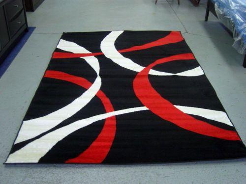 Modern Red White Black Design 5x8 Area Rug Carpet New