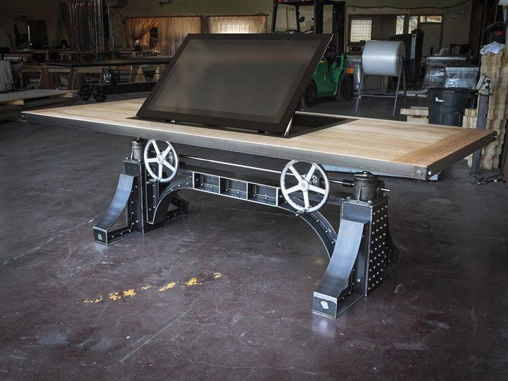 Bronx Table With Pop Up Monitor By Vintage Industrial Furniture