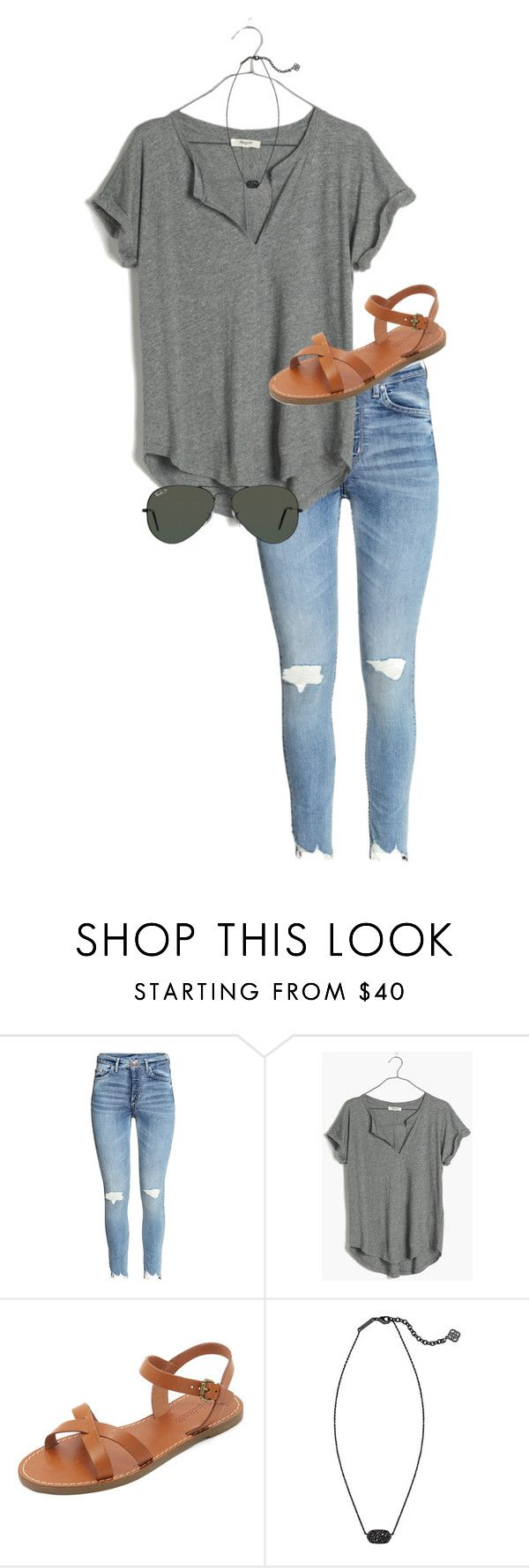 """""""chilllll"""" by caroline-barker ❤ liked on Polyvore featuring Madewell, Kendra Scott and Ray-Ban"""