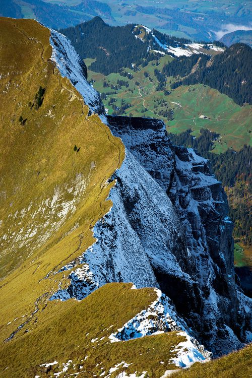 Walking on the edge: Swiss Alps    Been there, done that.  Would like to go back, but not so close to the edge in a blizzard!