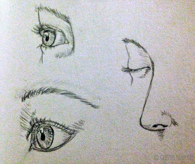 How to Draw - sketching the eye &  nose