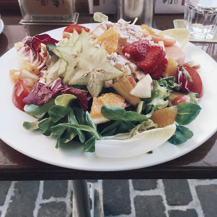 Basel Switzerland Oldtown Restaurant Stadthof fruit chicken salad