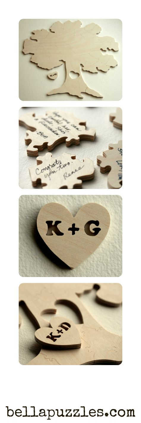 #wedding #puzzle #guestbook. Custom made wooden tree puzzle with your initials. By Bella Puzzles.