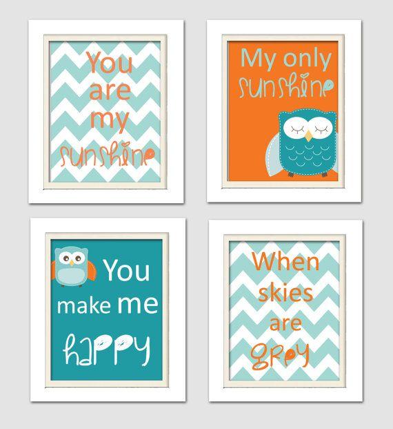 Nursery Quad, Blue and Orange Nursery, You are my sunshine, Owl Nursery, Set of 4 8X10, Orange, Blue