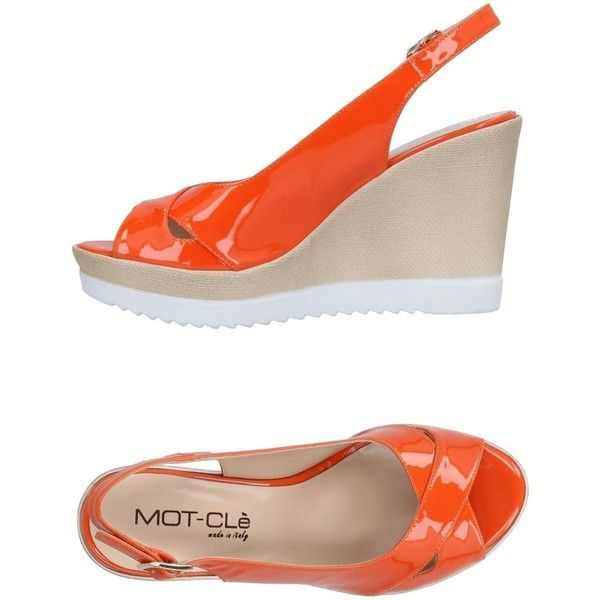 Mot-clè Sandals ($115) ❤ liked on Polyvore featuring shoes, sandals, orange, leather shoes, ankle strap wedge shoes, wedge heel sandals, orange wedge sandals and leather ankle strap sandals