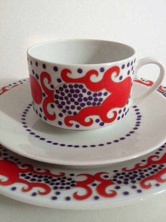Vintage 1960 Era / Arabia Finland / Teacup 3 piece by MelbaMoon, $58.00